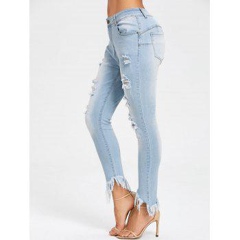 Frayed Hem Ripped Skinny Jeans - LIGHT BLUE M