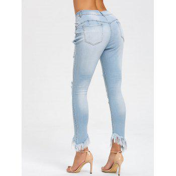 Frayed Hem Ripped Skinny Jeans - LIGHT BLUE LIGHT BLUE