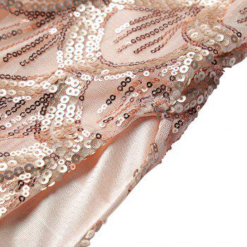 Sexy V Neck Backless Spaghetti Sparkly Glitter Sequins Dress Party Club Wearing - PINK PINK