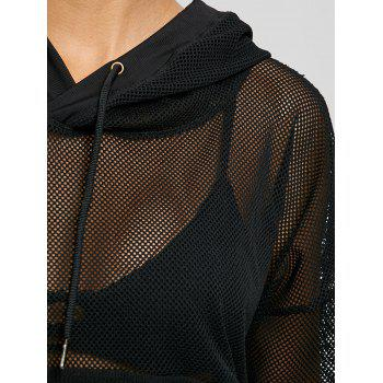 Drop Shoulder Mesh Insert Hooded Sports Top - BLACK L