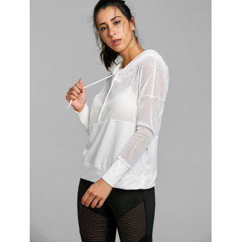 Drop Shoulder Mesh Insert Hooded Sports Top - WHITE M