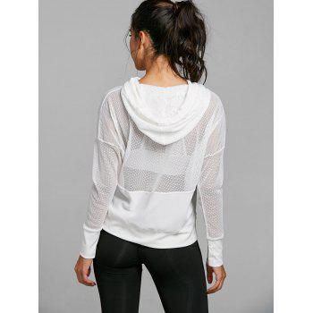 Drop Shoulder Mesh Insert Hooded Sports Top - WHITE S