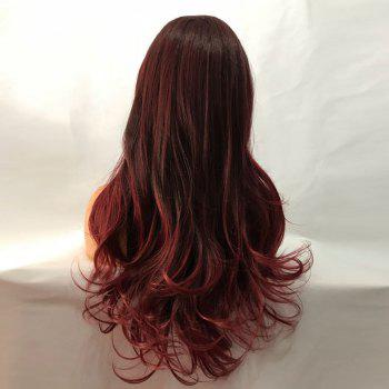 Free Part Long Wavy Synthetic Lace Front Wig - WINE RED
