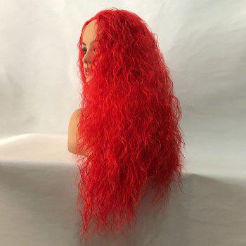 Long Center Parting Fluffy Water Wave Lace Front Synthetic Wig - RED