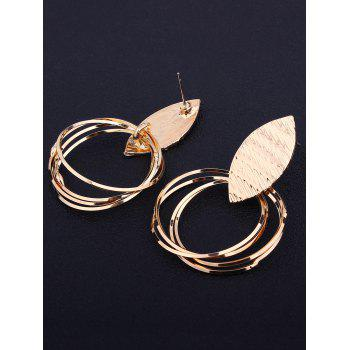 Pair of Metal Leaf and Rings Decorated Earrings - GOLDEN