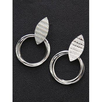 Pair of Metal Leaf and Rings Decorated Earrings - SILVER