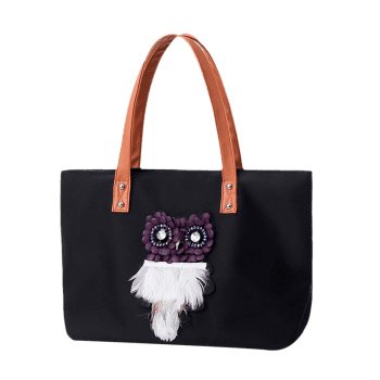 Feather Rhinestone Owl Shoulder Bag -  BLACK