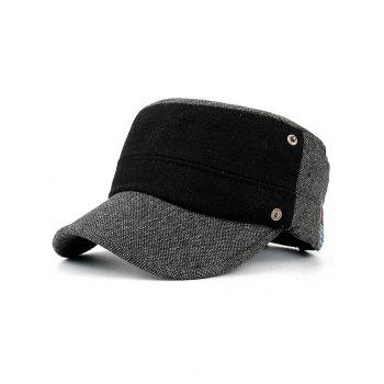 Simple Label Pattern Decorated Flat Top Military Hat - DARK GRAY DARK GRAY
