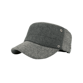 Simple Label Pattern Decorated Flat Top Military Hat -  GRAY
