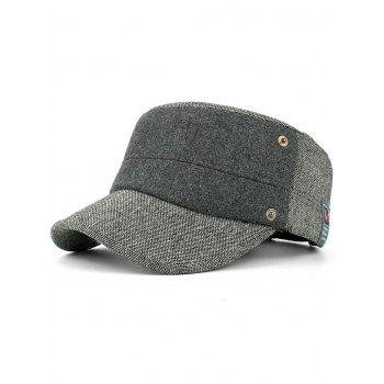 Simple Label Pattern Decorated Flat Top Military Hat - GRAY GRAY