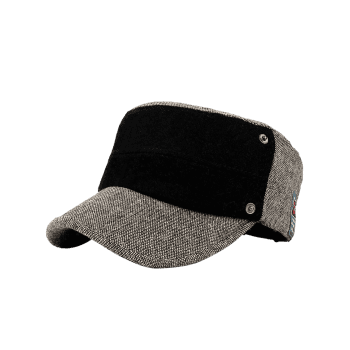 Simple Label Pattern Decorated Flat Top Military Hat -  KHAKI