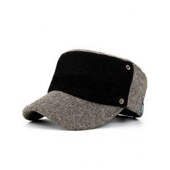 Simple Label Pattern Decorated Flat Top Military Hat - KHAKI KHAKI