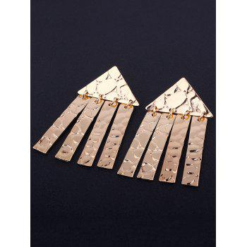 Pair of Triangle Shape Decorated Earrings -  GOLDEN