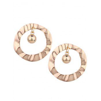 Pair of Metal Hollow Out Round Shape Stud Earrings - GOLDEN GOLDEN