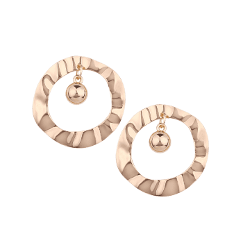 Pair of Metal Hollow Out Round Shape Stud Earrings - GOLDEN