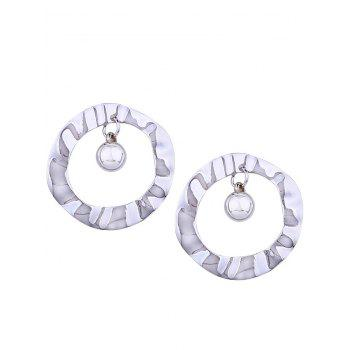 Pair of Metal Hollow Out Round Shape Stud Earrings - SILVER SILVER