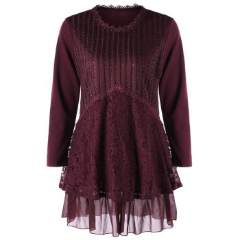Plus Size Lace Trim Layered Tunic Blouse - WINE RED WINE RED