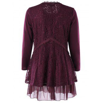 Plus Size Lace Trim Layered Tunic Blouse - WINE RED 3XL