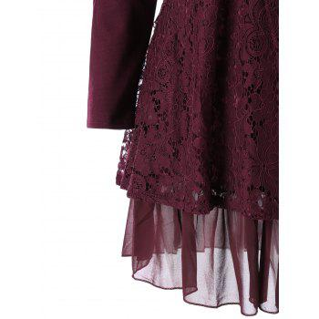 Plus Size Lace Trim Layered Tunic Blouse - WINE RED 4XL