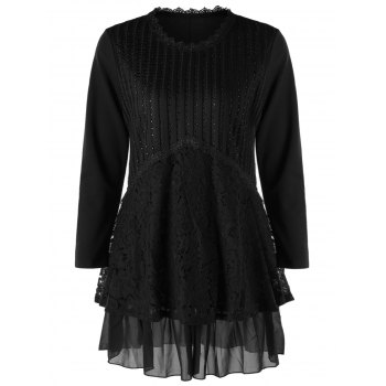 Plus Size Lace Trim Layered Tunic Blouse - BLACK BLACK