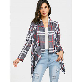 Draped Front Elbow Patch Plaid Cardigan - GRAY S