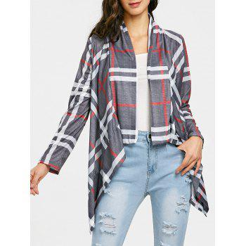 Draped Front Elbow Patch Plaid Cardigan - GRAY GRAY