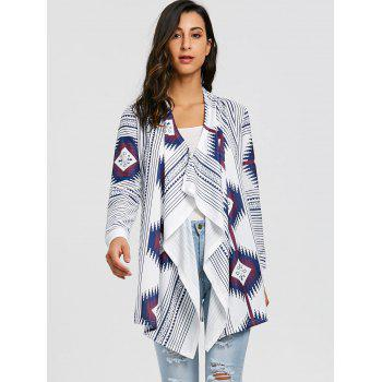 Tribal Print Stripe Draped Tunic Cardigan - WHITE L