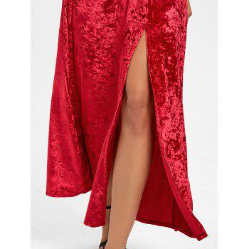 High Slit Backless Party Maxi Dress - RED S