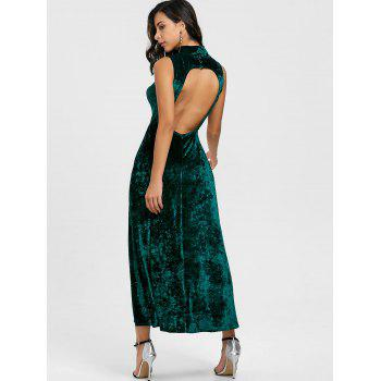 High Slit Backless Party Maxi Dress - BLACKISH GREEN M