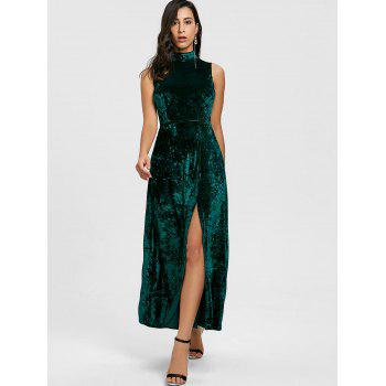 High Slit Backless Party Maxi Dress - BLACKISH GREEN S