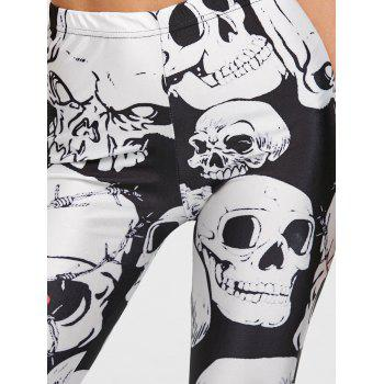 Skull Print Skinny Sports Leggings - BLACK M