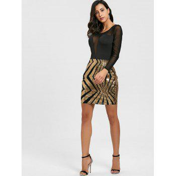 Sheer Mesh Insert Sequin Dress - GOLDEN S