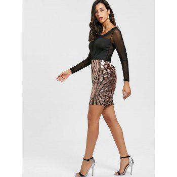 Sheer Mesh Insert Sequin Dress - ROSE GOLD L