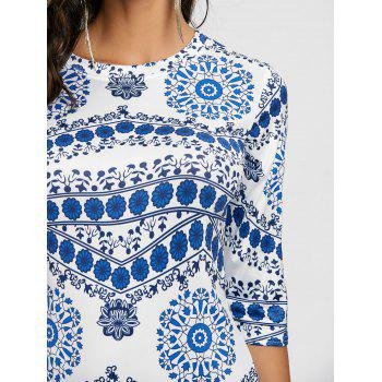 Porcelain Print Bodycon Midi Dress - BLUE/WHITE BLUE/WHITE