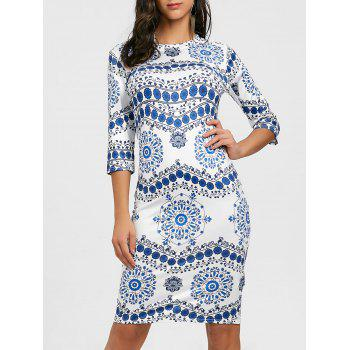 Porcelain Print Bodycon Midi Dress - BLUE AND WHITE BLUE/WHITE