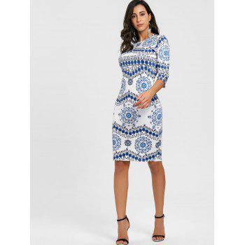 Porcelain Print Bodycon Midi Dress - BLUE/WHITE XL