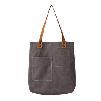 Geometric Stitching Canvas Shoulder Bag -  GRAY