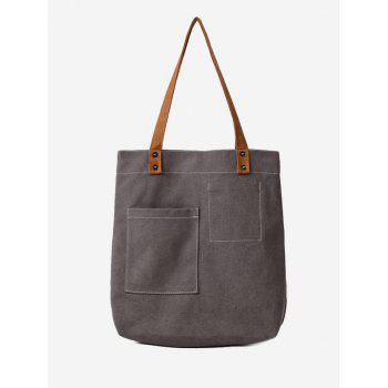 Geometric Stitching Canvas Shoulder Bag - GRAY GRAY