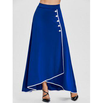 Buttons A-line Asymmetric Maxi Skirt - BLUE BLUE