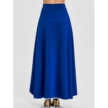 Buttons A-line Asymmetric Maxi Skirt - BLUE XL