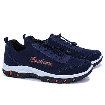 Letter Faux Suede Sneakers - BLUE 39