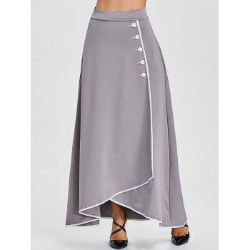 Buttons A-line Asymmetric Maxi Skirt - GRAY GRAY