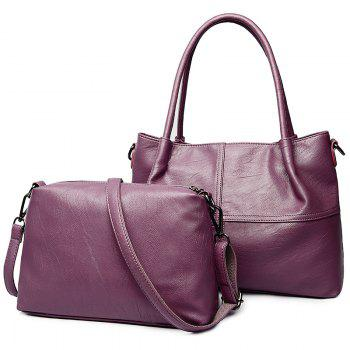 PU Leather 2 Pieces Handbag Set - PURPLE PURPLE