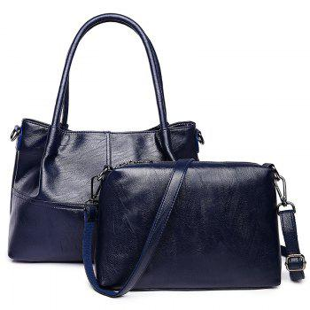 PU Leather 2 Pieces Handbag Set - BLUE BLUE