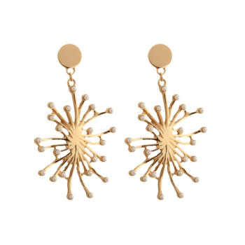 Statement Faux Pearl Floral Drop Earrings - GOLDEN