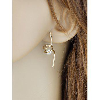 Unique Faux Pearl Spiral Earrings -  GOLDEN