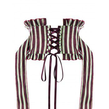 Striped Ruffles Back Lace Up Corset - WINE RED M