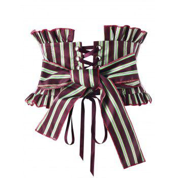 Striped Ruffles Back Lace Up Corset - WINE RED XL