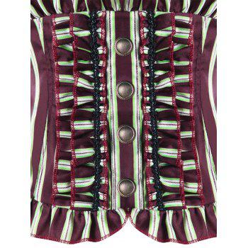 Striped Ruffles Back Lace Up Corset - WINE RED WINE RED