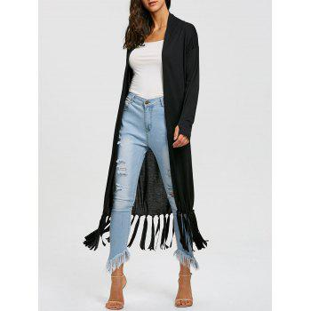 Long Open Front Fringe Cardigan - BLACK BLACK